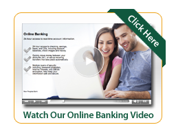 Online banking video image with man and woman looking at laptop together