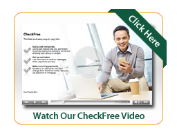 CheckFree Video Image man looking at cell phone
