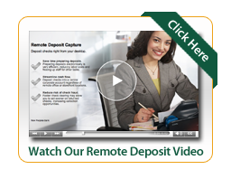 Remote deposit video image with woman smiling holding an inkpen