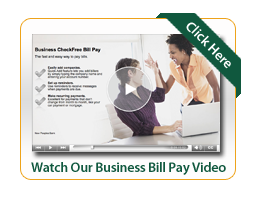 Business Bill Pay video image of two women at computer giving a high five