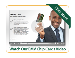 EMV Chip Card Video with man holding up a check card and smiling