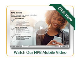 Mobile banking video image with woman looking at phone and smiling