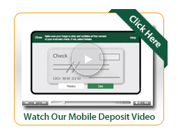 Mobile Deposit video, image of mobile deposit screen with sample check in the window
