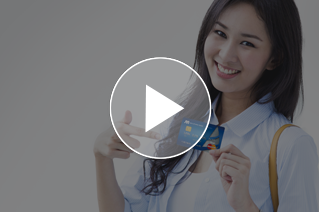 Girl holding EMV Chip Card