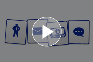 Illustration of person, envelope, money, and word bubble